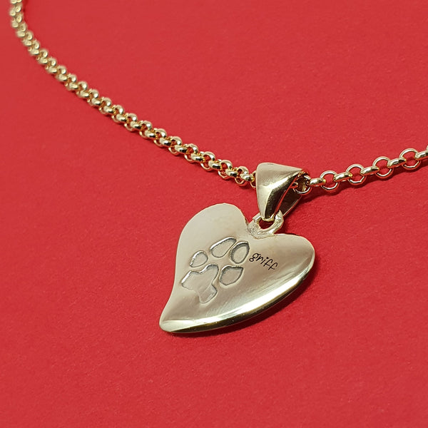 Memento 9ct yellow gold plated personalised pawprint small signature heart necklace jewellery