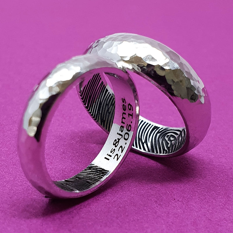 Memento Silver Personalised Fingerprint D Profile Wide Hammered Finish Ring Jewellery