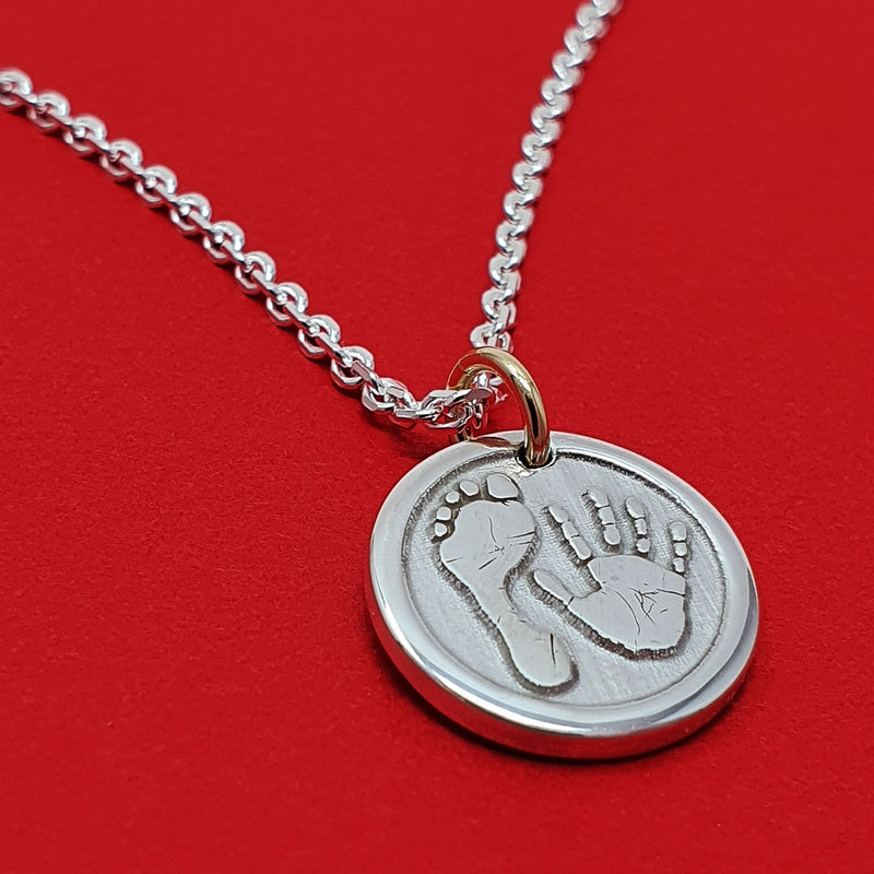 Memento silver & 9ct gold personalised handprint and footprint signature chunky button necklace jewellery