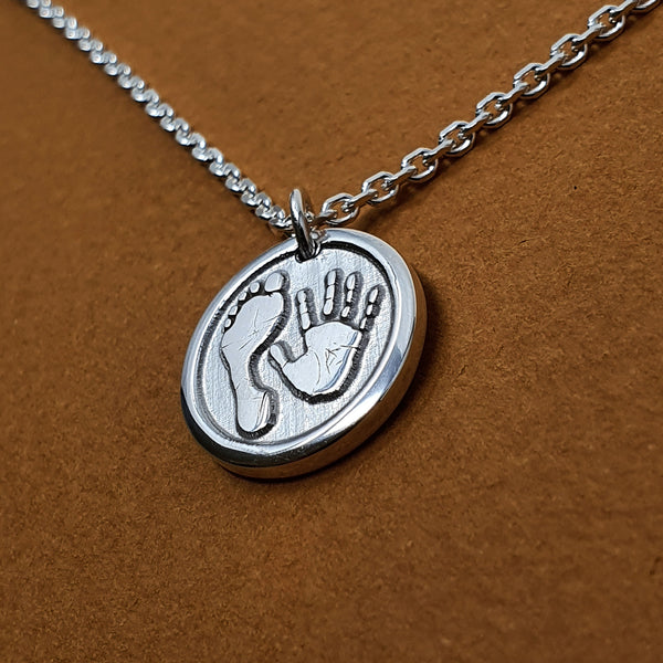 Memento silver personalised handprint and footprint signature chunky button necklace jewellery