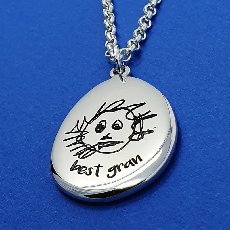Memento silver personalised hand drawing signature pebble necklace jewellery