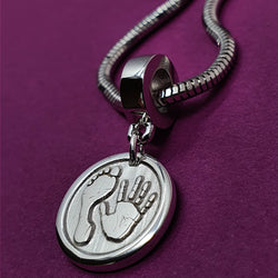 Memento silver personalised handprint & footprint chunky button charm jewellery