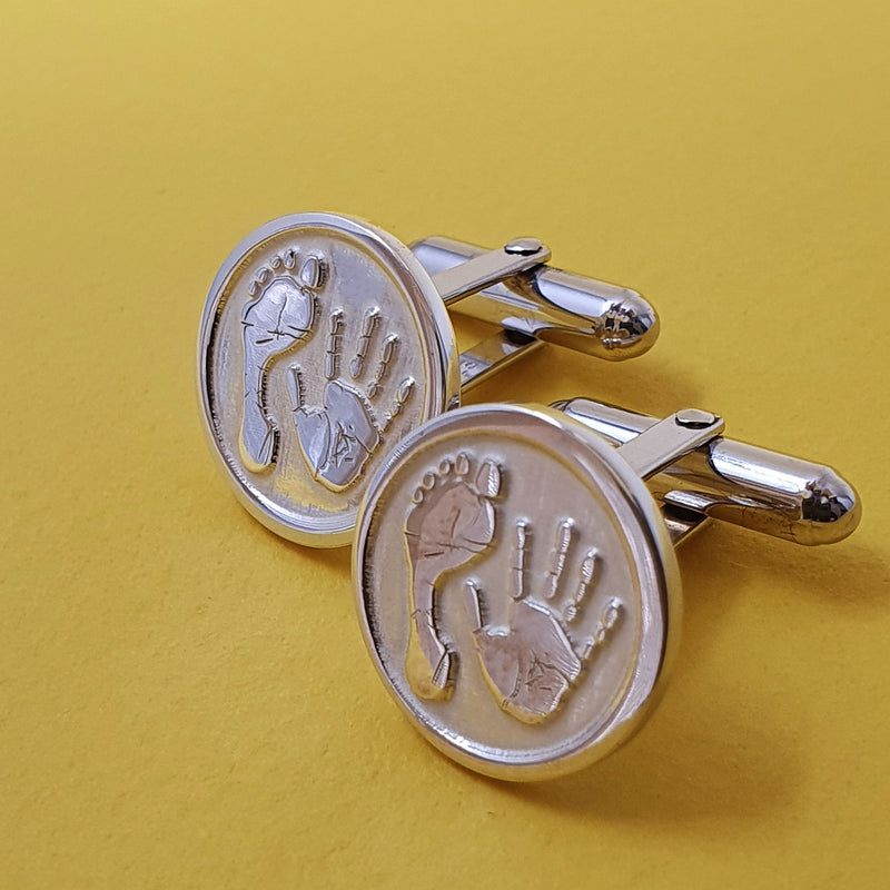 Memento silver personalised handprint & footprint signature round hinged cufflinks jewellery