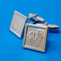 Memento silver personalised handprint & footprint template signature square hinged cufflinks jewellery