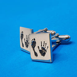 Memento silver personalised handprint & footprint signature square hinged cufflinks jewellery