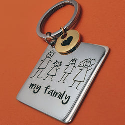 Memento stainless steel personalised hand drawing circle & square keyring jewellery