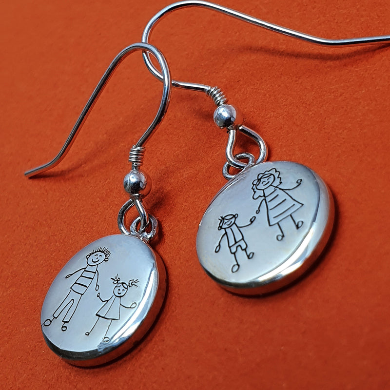 Memento silver personalised hand drawing earrings jewellery