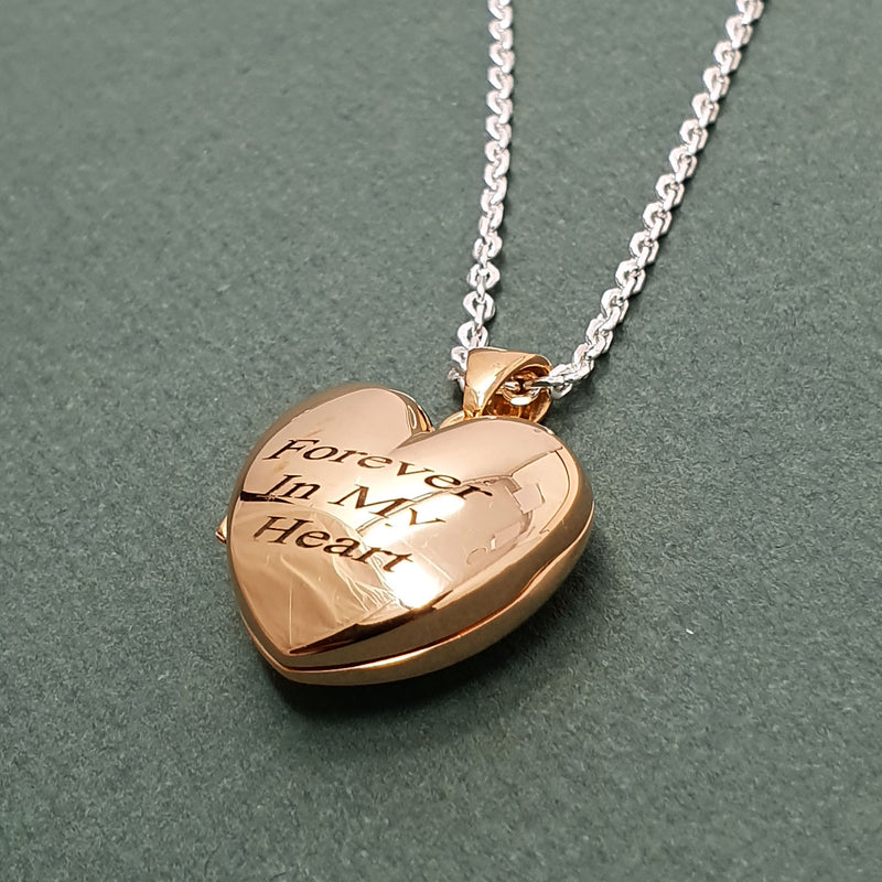 Memento 9ct rose gold plated personalised heart photo locket necklace jewellery