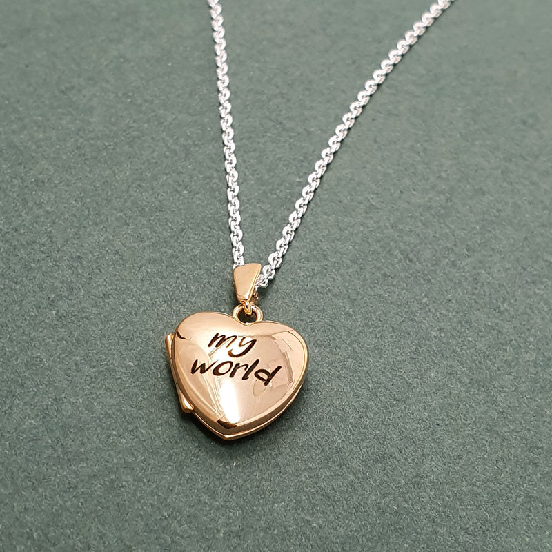 Memento 9ct rose gold plated personalised small heart photo locket necklace jewellery