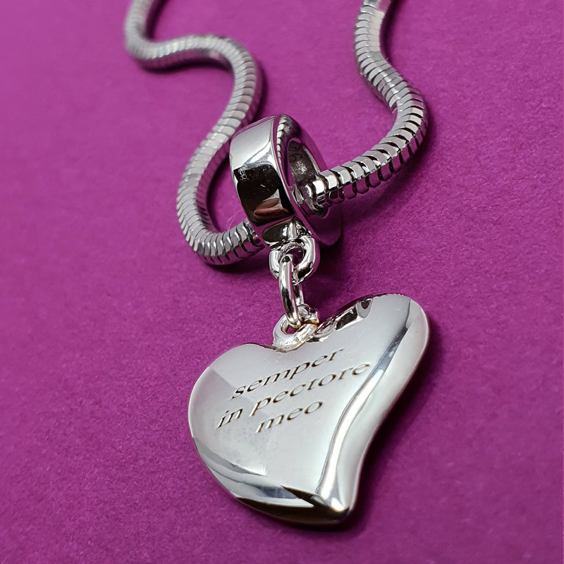 Memento silver personalised special message signature heart charm jewellery