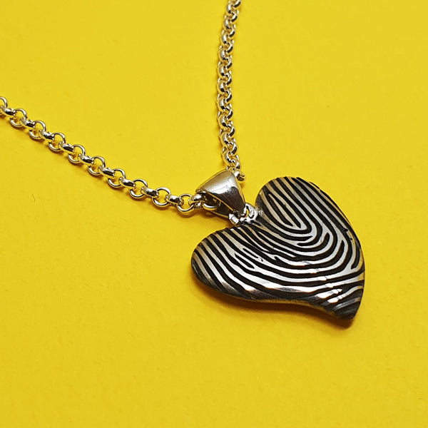 Memento silver personalised fingerprint signature small heart necklace jewellery
