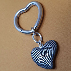 Memento silver personalised fingerprint signature heart keyring jewellery