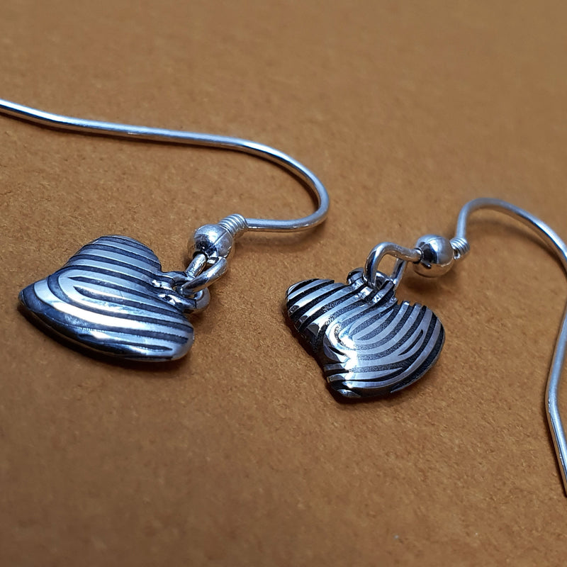 Memento silver personalised fingerprint signature heart earrings  jewellery