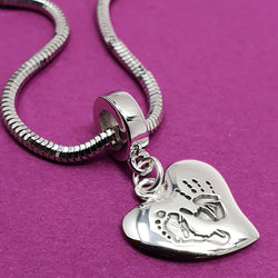 Memento silver personalised handprint & footprint signature heart charm jewellery