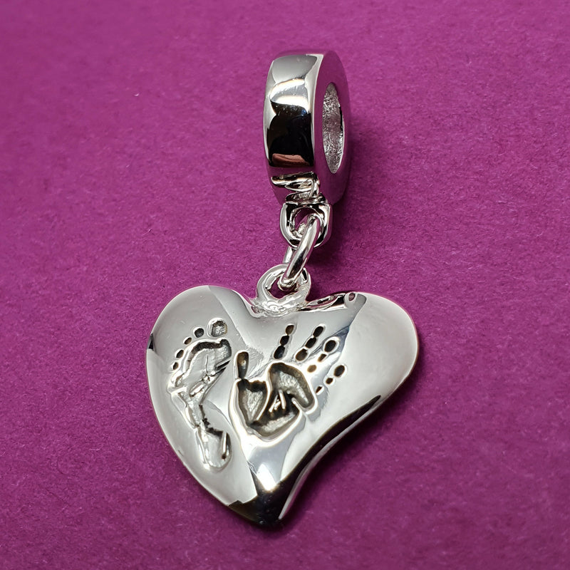 Memento silver personalised handprint & footprint heart charm jewelleryMemento silver personalised handprint & footprint signature heart charm jewellery