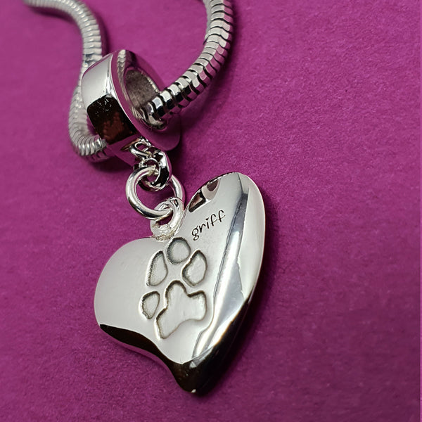 Memento silver personalised pawprint signature heart charm jewellery