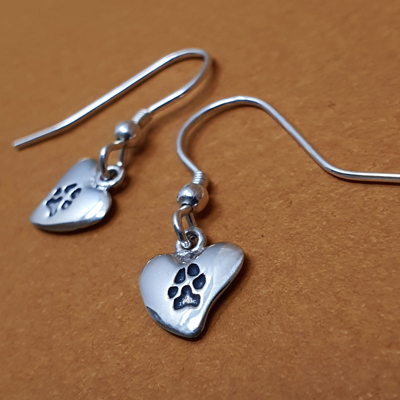 Memento silver personalised pawprint signature heart earrings  jewellery