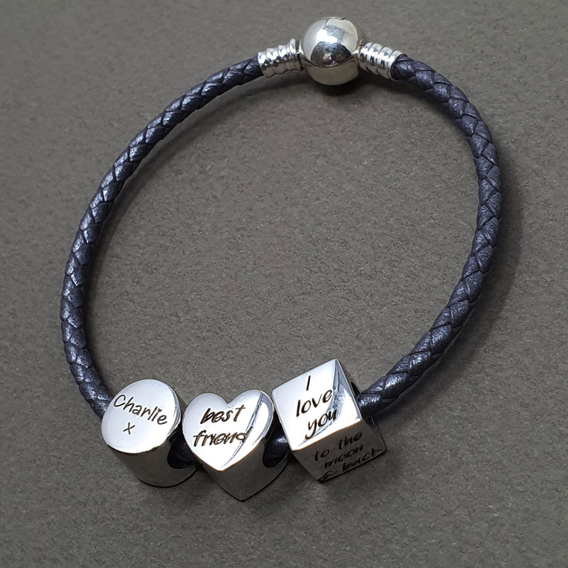 Memento silver personalised heart bead special message bracelet charm jewellery