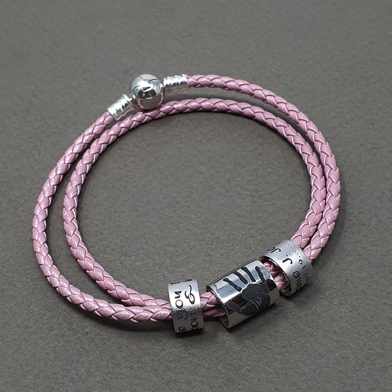 Memento leather & silver double wrap braided bracelet jewellery