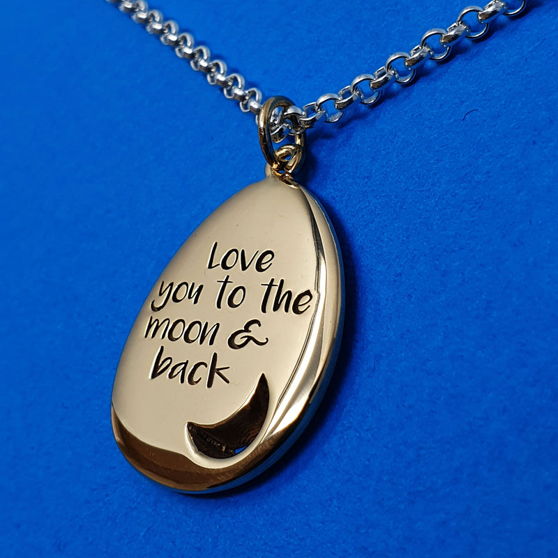 Memento 9ct yellow gold plated personalised special message signature moon pebble necklace jewellery