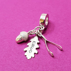 Memento silver personalised special message signature wishbone, oak leaf & acorn charm jewellery