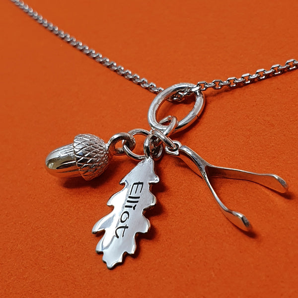 Memento silver personalised special message oak leaf, acorn & wishbone necklace jewellery