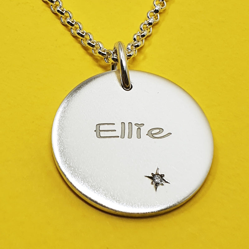 Memento silver personalised names & initials signature chunky button necklace jewellery with extra long chain