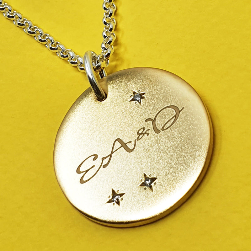 Memento silver & 9ct yellow gold plated diamond personalised names & initials signature chunky button necklace jewellery with extra long chain