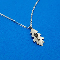 Memento silver personalised handprint & footprint oak leaf necklace jewellery