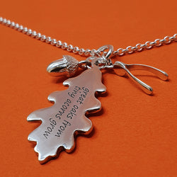 Memento silver personalised special message signature oak leaf, baby wishbone & acorn necklace jewellery