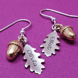 Memento silver personalised special message signature oak leaf & acorn earring jewellery