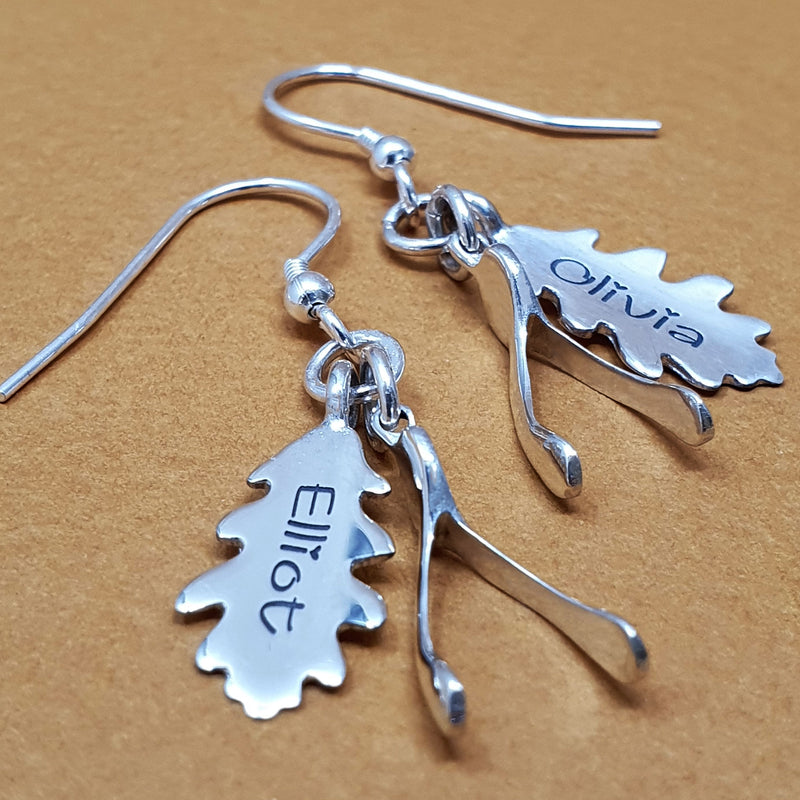 Memento silver personalised special message signature oak leaf & wishbone earring jewellery