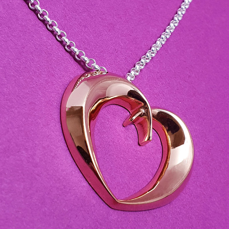 Memento silver & 9ct rose gold plated personalised special message signature open heart necklace jewellery