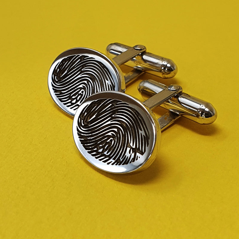Memento silver personalised fingerprint signature oval hinged cufflinks jewellery