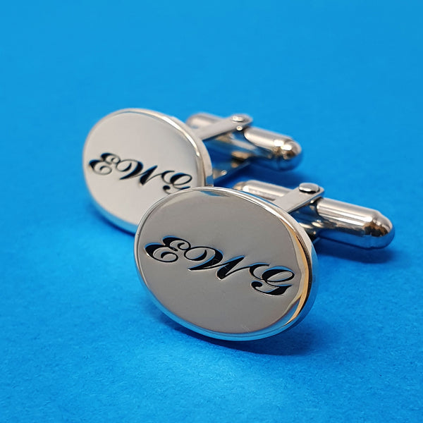 Memento silver personalised initials signature oval hinged cufflinks jewellery