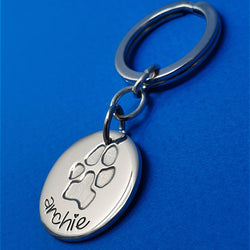Memento silver personalised inked pawprint signature chunky button keyring jewellery