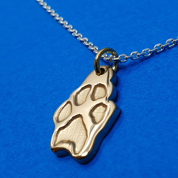 Memento 9ct yellow gold plated personalised pawprint necklace jewellery