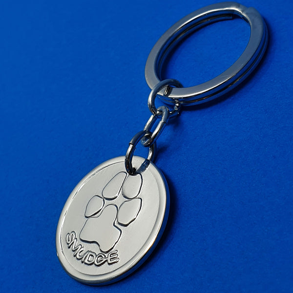 Memento silver personalised pawprint signature chunky button keyring jewellery