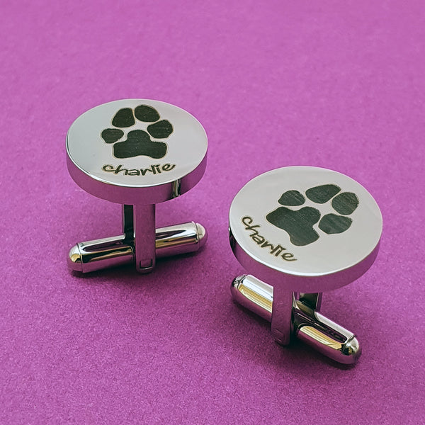 Memento stainless steel personalised pawprint cufflinks jewellery