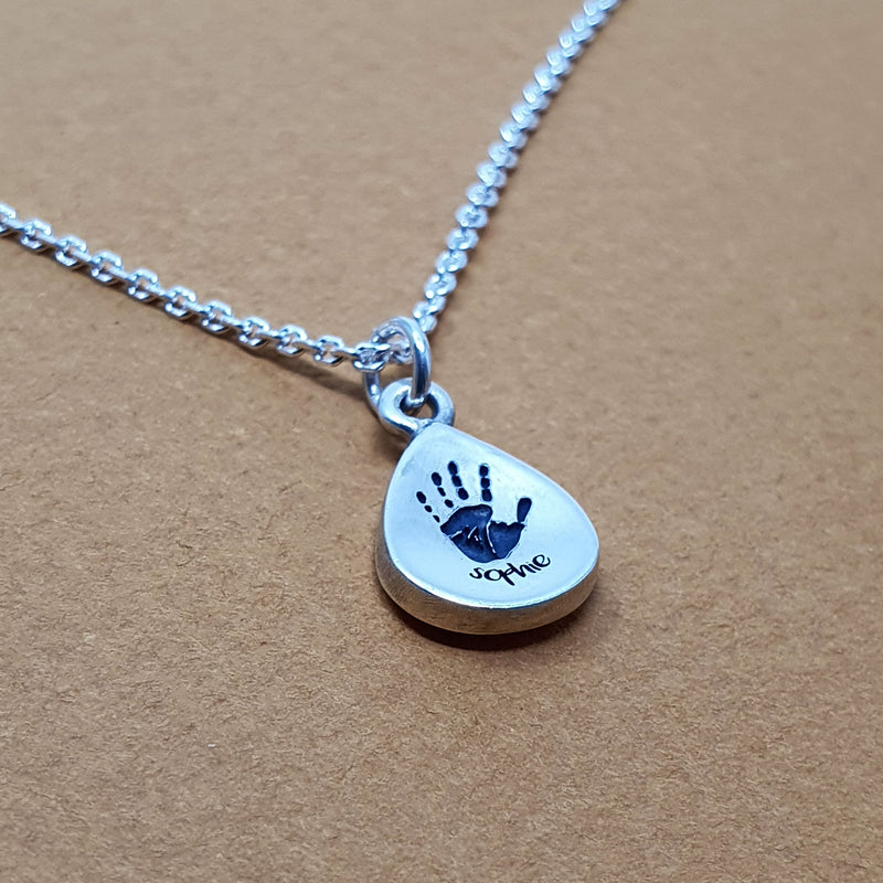 Memento silver personalised handprint & footprint signature peardrop necklace jewellery