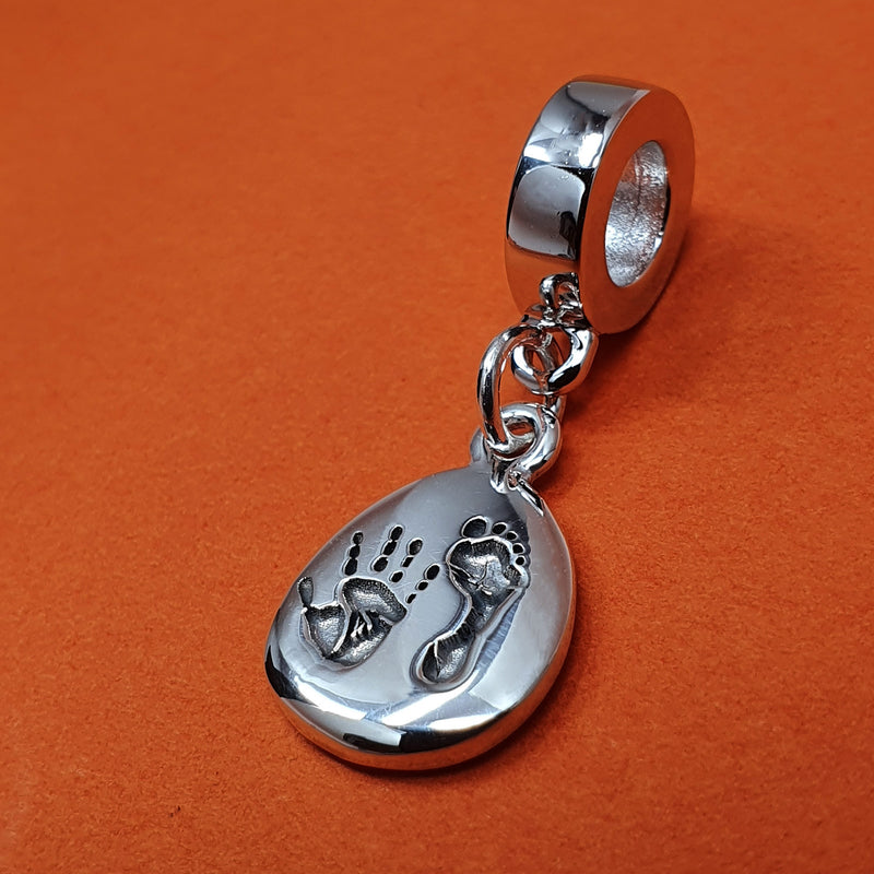 Memento silver personalised handprint & footprint signature pebble charm jewellery