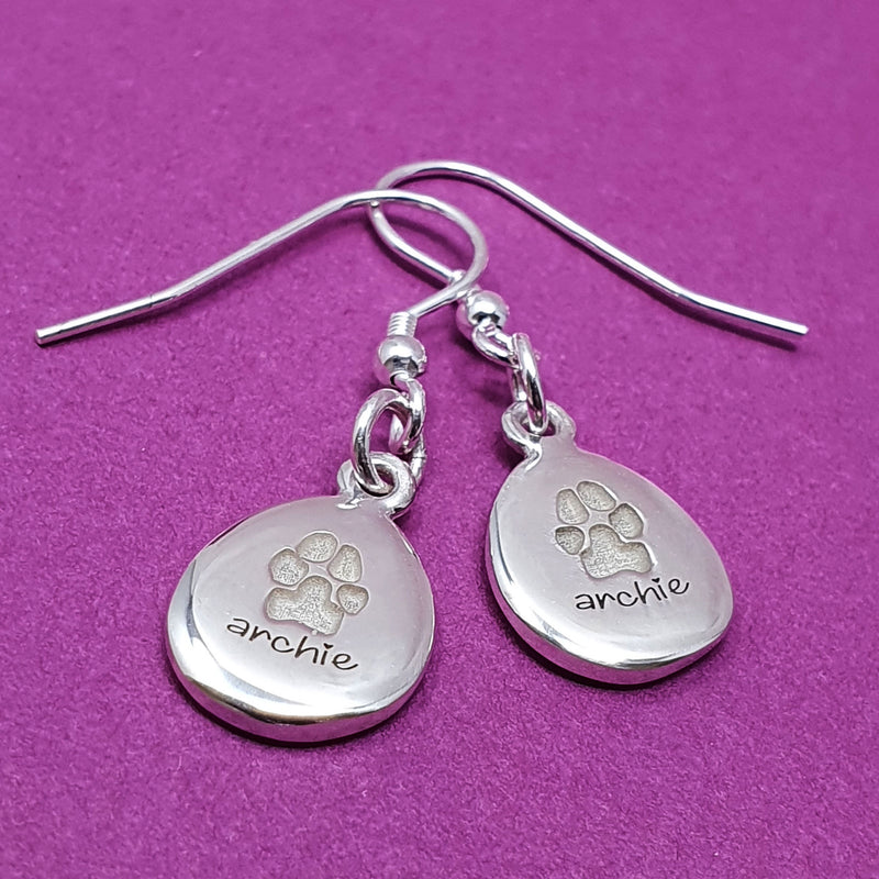 Memento silver personalised pawprint signature pebble earring  jewellery