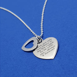 Memento Silver Personalised Special Message Double Pierced Heart Necklace Jewellery