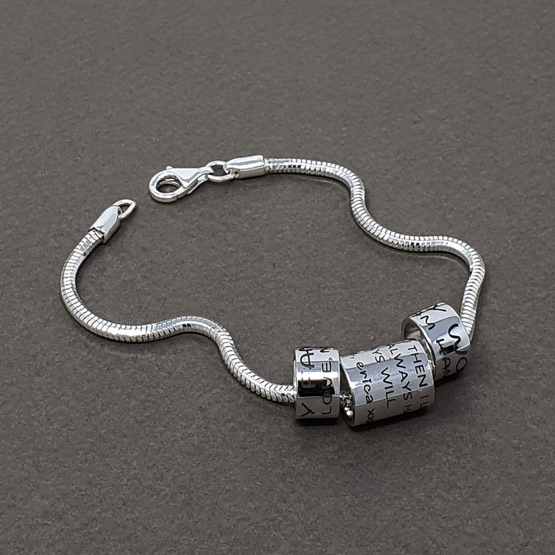 Memento silver personalised ring bead special message bracelet charm jewellery