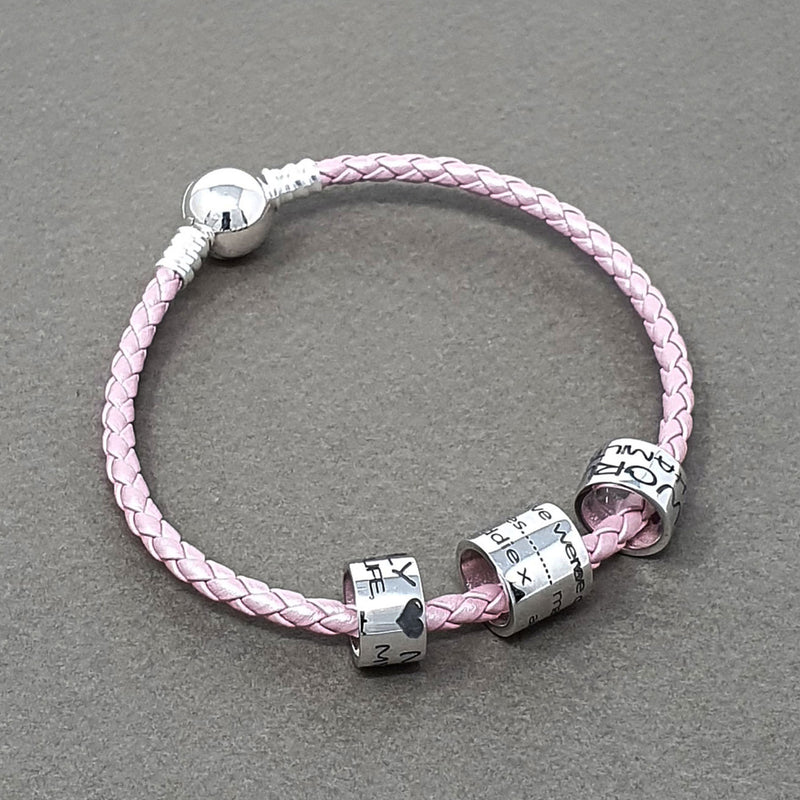 Memento silver personalised medium ring bead special message bracelet charm jewellery