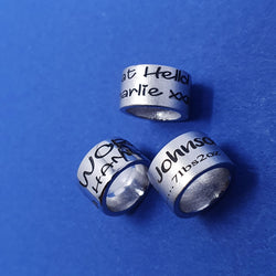 Memento silver personalised small ring bead special message bracelet charm jewellery