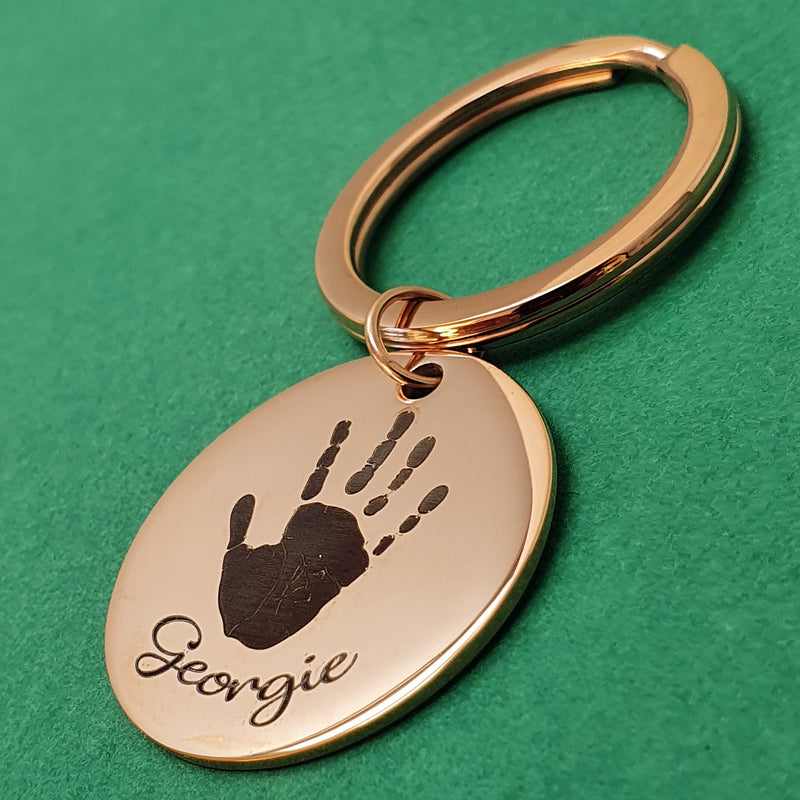 Memento Rose Gold Plated Steel Personalised Handprint & Footprint Circle Keyring
