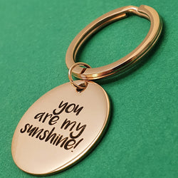 Memento Rose Gold Plated Steel Personalised Special Message Circle Keyring