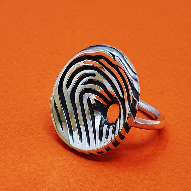 Memento silver personalised fingerprint signature saucer ring jewellery