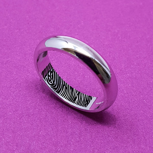 Memento Silver Personalised Secret Fingerprint D Profile Ring Jewellery